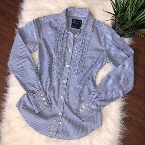 American Eagle Stripe White Blue Ling Sleeve Shirt